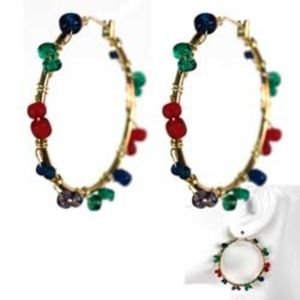 !SALE! Colorful Beaded Wire Wrappped Hoop Earrings